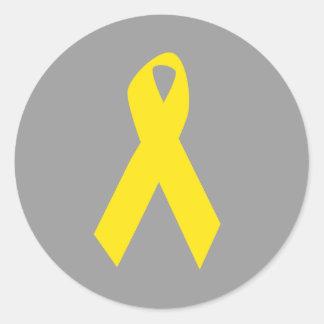 Conciencia amarilla de la cinta del suicidio etiquetas redondas