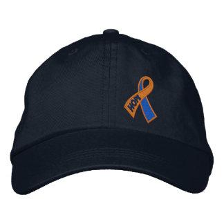 Conciencia azul anaranjada de la cinta de la gorras bordadas