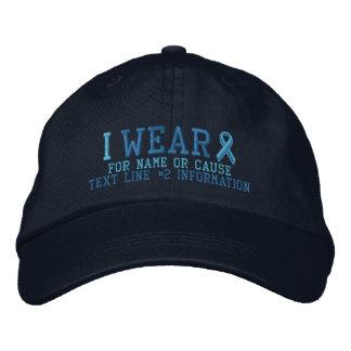Conciencia azul clara personalizada de la cinta gorra bordada