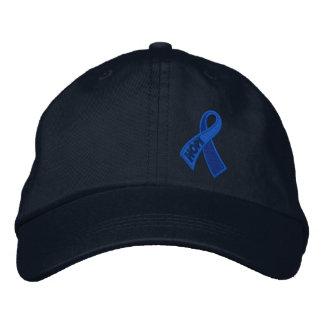 Conciencia azul de la cinta del cáncer de la gorros bordados