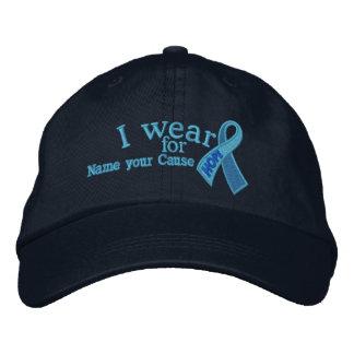 Conciencia azul personalizada de la cinta de la gorra de beisbol bordada