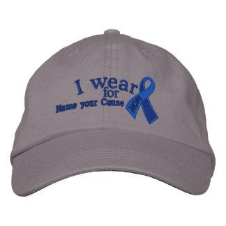 Conciencia azul personalizada de la cinta de la gorros bordados