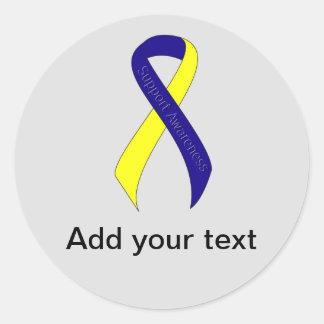 Conciencia azul y amarilla de la ayuda de la cinta pegatina redonda