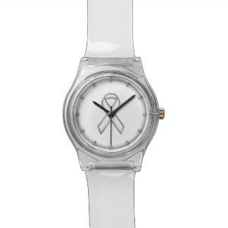 Conciencia blanca ceñida impresión de la cinta del relojes de mano