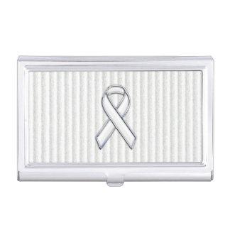 Conciencia blanca de la cinta del cromo en rayas caja de tarjetas de visita