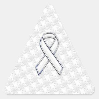 Conciencia blanca Houndstooth de la cinta del Pegatina Triangular