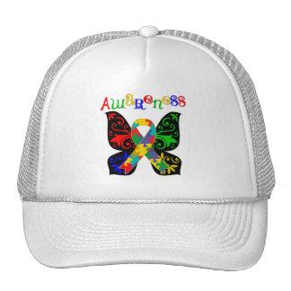 Conciencia colorida del autismo de la mariposa gorros bordados