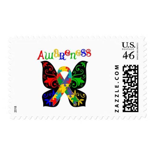 Conciencia colorida del autismo de la mariposa sellos