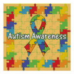 Conciencia cuadrada del autismo de la cinta del ro poster