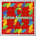 Conciencia cuadrada del autismo de la cinta del ro posters
