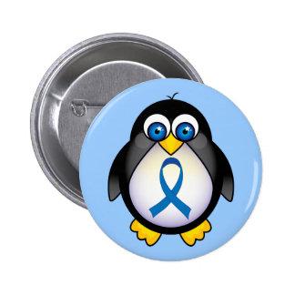 Conciencia de Blue Ribbon del pingüino Pin Redondo De 2 Pulgadas