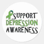 Conciencia de la depresión de la ayuda etiqueta redonda