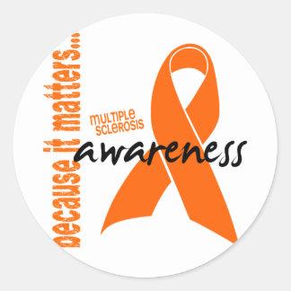 Conciencia de la esclerosis múltiple etiqueta redonda