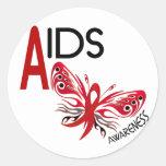 Conciencia de la mariposa 3 del SIDA/VIH Pegatinas Redondas