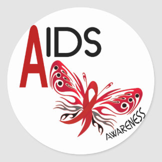 Conciencia de la mariposa 3 del SIDA/VIH Pegatina Redonda