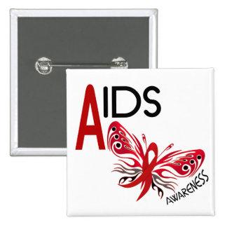 Conciencia de la mariposa 3 del SIDA/VIH Pin Cuadrado