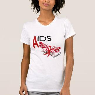 Conciencia de la mariposa 3 del SIDA/VIH Playera