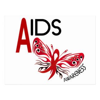 Conciencia de la mariposa 3 del SIDA/VIH Postales