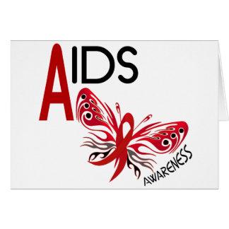 Conciencia de la mariposa 3 del SIDA/VIH Tarjeta De Felicitación