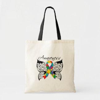Conciencia de la mariposa del tatuaje - autismo bolsa lienzo