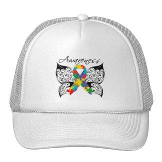Conciencia de la mariposa del tatuaje - autismo gorras de camionero