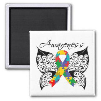 Conciencia de la mariposa del tatuaje - autismo imán cuadrado