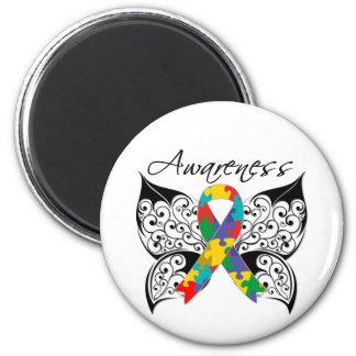 Conciencia de la mariposa del tatuaje - autismo imán redondo 5 cm