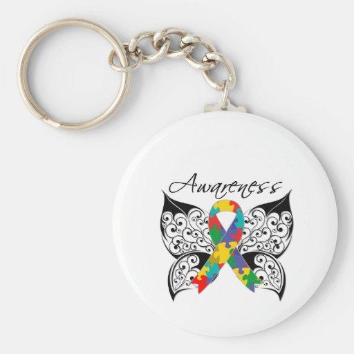 Conciencia de la mariposa del tatuaje - autismo llaveros personalizados