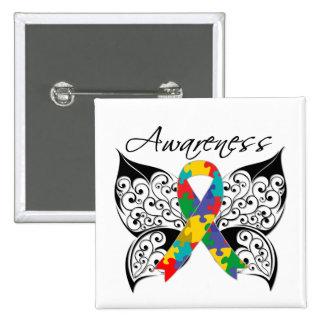 Conciencia de la mariposa del tatuaje - autismo pin cuadrada 5 cm