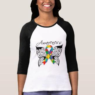 Conciencia de la mariposa del tatuaje - autismo playera