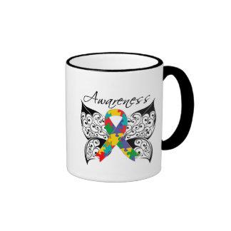 Conciencia de la mariposa del tatuaje - autismo taza a dos colores