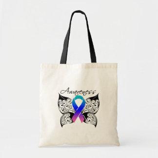 Conciencia de la mariposa del tatuaje - cáncer de  bolsa tela barata