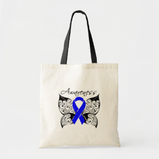 Conciencia de la mariposa del tatuaje - cáncer de  bolsas lienzo