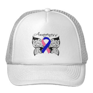 Conciencia de la mariposa del tatuaje - cáncer de  gorros bordados