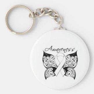 Conciencia de la mariposa del tatuaje - cáncer de  llavero redondo tipo pin