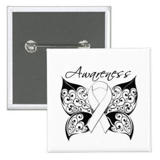 Conciencia de la mariposa del tatuaje - cáncer de  pin cuadrado