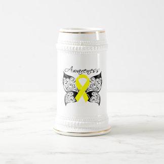 Conciencia de la mariposa del tatuaje - cáncer de  taza de café
