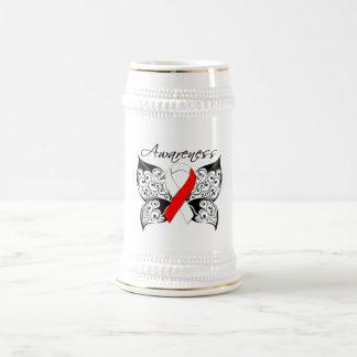 Conciencia de la mariposa del tatuaje - cáncer ora tazas de café