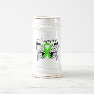 Conciencia de la mariposa del tatuaje - linfoma tazas