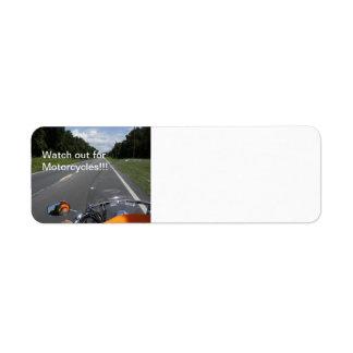 Conciencia de la motocicleta etiqueta de remite