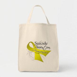 Conciencia de la prevención del suicidio bolsa tela para la compra