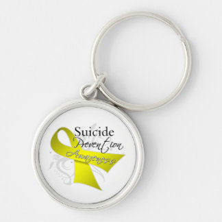 Conciencia de la prevención del suicidio llavero redondo plateado