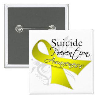 Conciencia de la prevención del suicidio pin cuadrado