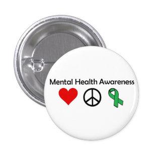 Conciencia de la salud mental - amor, paz, concien pin redondo 2,5 cm