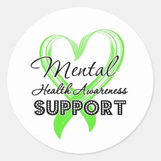 Conciencia de la salud mental - ayuda pegatina redonda