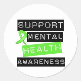 Conciencia de la salud mental de la ayuda pegatina redonda
