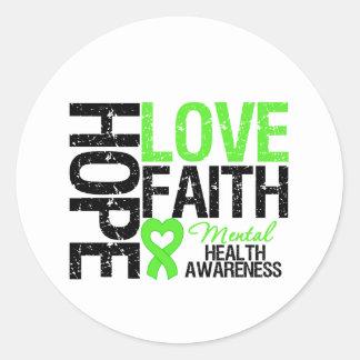 Conciencia de la salud mental de la fe del amor de pegatina redonda