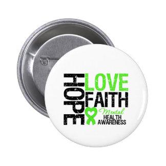 Conciencia de la salud mental de la fe del amor de pin redondo de 2 pulgadas