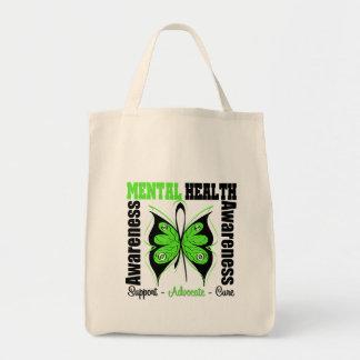 Conciencia de la salud mental - mariposa bolsa de mano