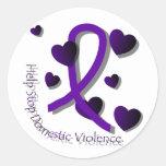 Conciencia de la violencia en el hogar pegatina redonda